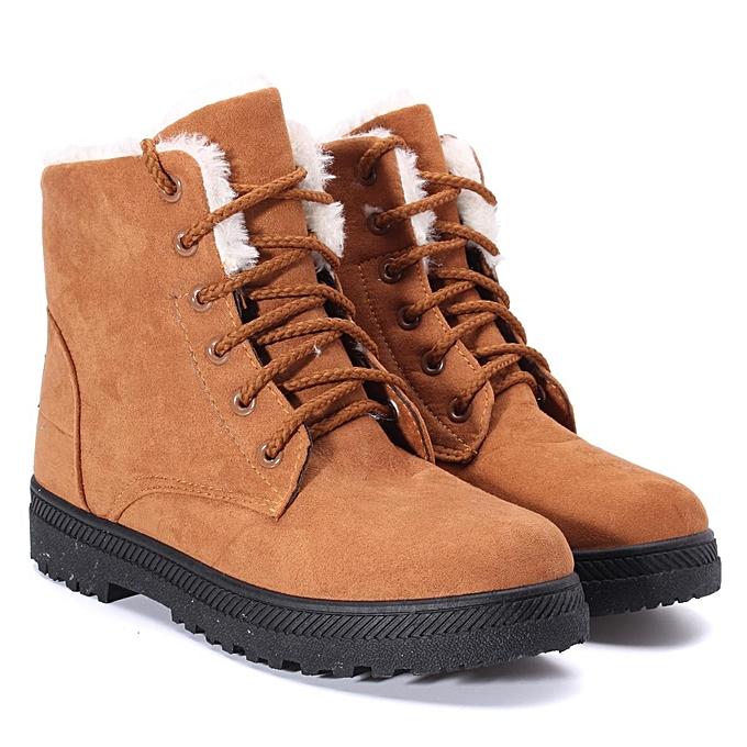 c029b93a453d9 Women Winter Warm Boots Flat Lace Up Faux Fur Lined Casual Snow Ankle Boot  Shoes KHAKI