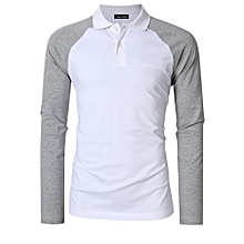 Yong Horse Men's Two Tone Color Blocked Modern Fit Long Sleeve Polo Shirt Color:White With Gray Sleeves Size:XL