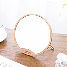 Round Wooden Table Mirror Desktop Makeup Mirror Female Dormitory Beauty Gift