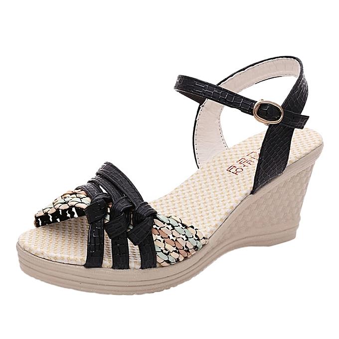 b2bdf0e50eba Fashion Blicool Shoes Ladies Women Wedges Shoes Summer Sandals Platform Toe  High-Heeled Shoes Black