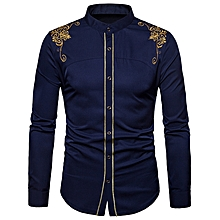 Turndown Collar Embroidered Design Shirt - MIDNIGHT BLUE