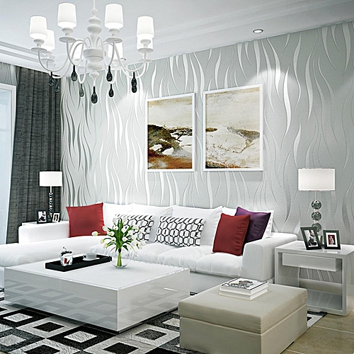 10m Silver 3d Non Woven Wave Stripe Embossed Wallpaper Rolls Living Room Decor