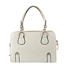 Ladies Plaid Rivet Tote Shoulder Bag - White