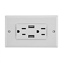 Double Outlet Power Supply Socket Strip Receptacle With DC 5V 2.4A Dual USB Wall Charger