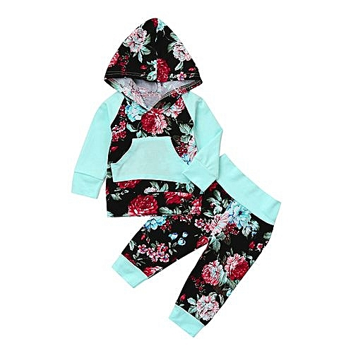 c608ab934 Eissely Newborn Infant Baby Boy Girl Floral Print Hoodie Tops+Pants ...