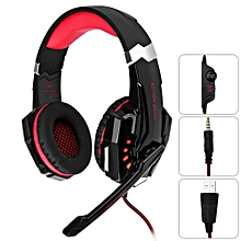 Gaming Headphone 3.5mm Game Headset For PS4 With Mic LED-RED