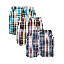 Boxer Shorts - 3 Pieces-In 1 Pure Cotton. Same Size Soft Boxers-Color May Vary