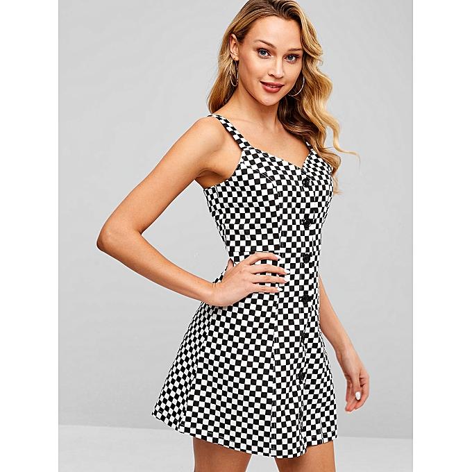 da48304d0 ZAFUL Checkered Button Down A Line Dress,White @ Best Price | Jumia ...
