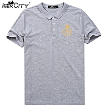 IMIXCITY Summer Men's Casual Cotton Short Sleeve Polo Shirt With Embroidery Color:Grey Size:L