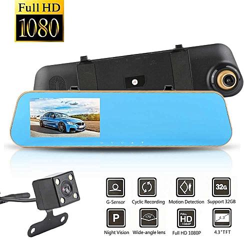 Generic Habuy 4.3''Car DVR Dash Cam Recorder HD 1080P Dual Lens Vehicle Rearview Mirror Camera WANKAI