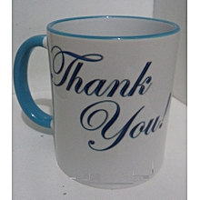 Coffee gift coffee mug for Dad - blue handle and rim ideal for Christmas gifting
