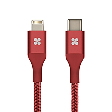 UniLink-LTC2: Red USB Type-C™ Cable 2.4A Type-C™ Male to Lightning Sync and Charge Mesh Armored 2 Meter Cable with Android OTG Support for iPhone X/8/8 Plus, iPad, MacBook Pro