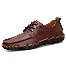 Fashion Men Genuine Leather Hand Stitching Casual Oxfords Formal Shoes red brown