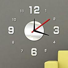 Modern DIY Wall Clock 3D Mirror Surface Sticker Home Office Decor Silver-Silver