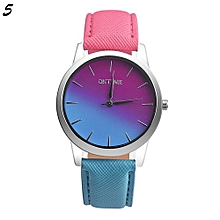 Candy Color Leather Quartz Wristwatch For Students #5 - Rose Red & Blue