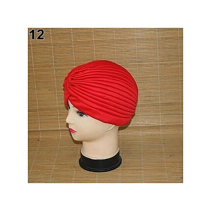 6c8fe3e3c7b Women Stretchy Hat Turban Head Wrap Band Chemo Bandana Hijab Pleated Indian  Cap-Red