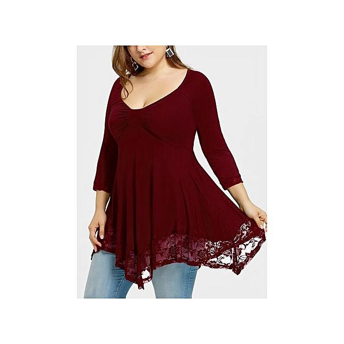 c5c3c82072df4 Fashion Lace Trim Plus Size Empire Waist Handkerchief T-shirt   Best ...