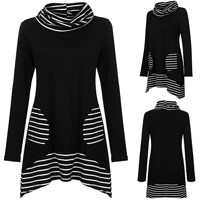199fc9c136cdae huskspo Women Plus Size Color Block Striped Top Turtle Neck Long Sleeve  Pocket Blouse