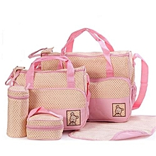 Baby Diaper Bag 5pc. Set, Baby Bottle Holder, Stroller bag, Travel bag - Pink