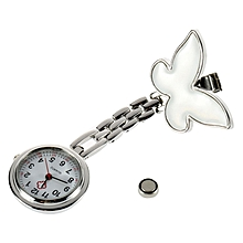 Cute Pendant Butterfly Nurse Clip-on Brooch Quartz Hanging Pocket Watch-White