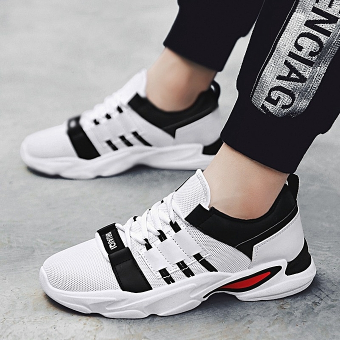 43ad431e04 Stylish Men's Mesh Cloth Running Shoes Casual Sports Shoes-White Black