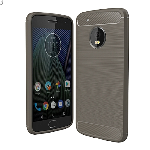 size 40 26d88 a2519 For Motorola Moto G5 Plus Brushed Carbon Fiber Texture Shockproof TPU  Protective Cover Case(Grey)