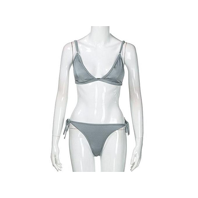 f6e6d07f85 ... Xingbiaocao Women Bandeau Bandage Bikini Set Push-Up Brazilian Swimwear  Beachwear Swimsuit -Gray ...