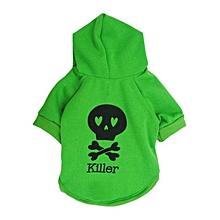 Halloween Fleece Black Skeleton Pet dog Puppy Clothes with Hood Sweater Coat -Green