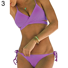 Women Split Bikini Set Pure Color Swimsuit Swimwear Sexy Beach Wear Swim Suit-Purple