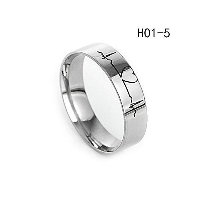 0c461d51b3 Tanson Lovers Heartbeat ECG Ring Couple Rings Titanium Steel Ring  Engagement Wedding Ring His And Her