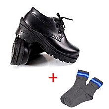 Generic Black Shoes + Free Pair of Socks