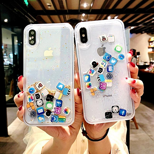 Case For IPhone XR Cute Apps Icon Liquid Glitter Quicksand Hard Cover For  for iphone XR (as picture)