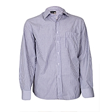 White And Purple Striped Men's Shirt
