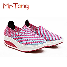 Fashion Women Handmade Knitting Color Match Slip On Sport Platform Shake Athletic Shoes Sneakers