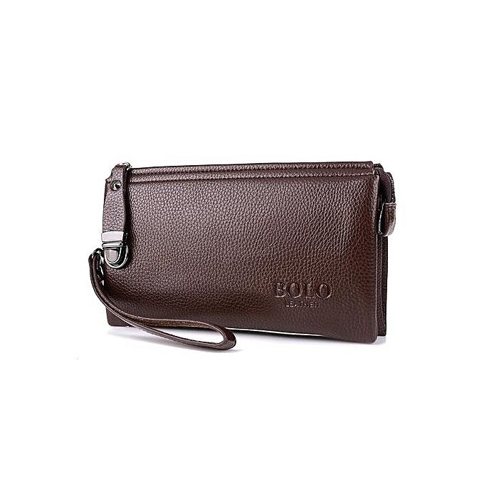 bc0e277c7af4 Hand Bag Cowhide Leather Handbag Business Men Large Clutch Wallet Purse  (Coffee)