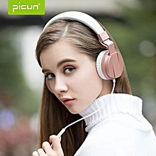 PICUN C3 Hi-Fi 40mm Driver Over Ear Wired Stereo Headphone with Microphone-Rose Gold JY-M