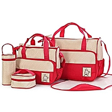 Diaper Bag, Multi Pockets Waterproof Nappy Bag For Travel, Large Capacity and Stylish- Red - 5 Pieces