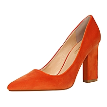 9.5cm High Square Heel Shallow Pointed Pumps  (Orange)