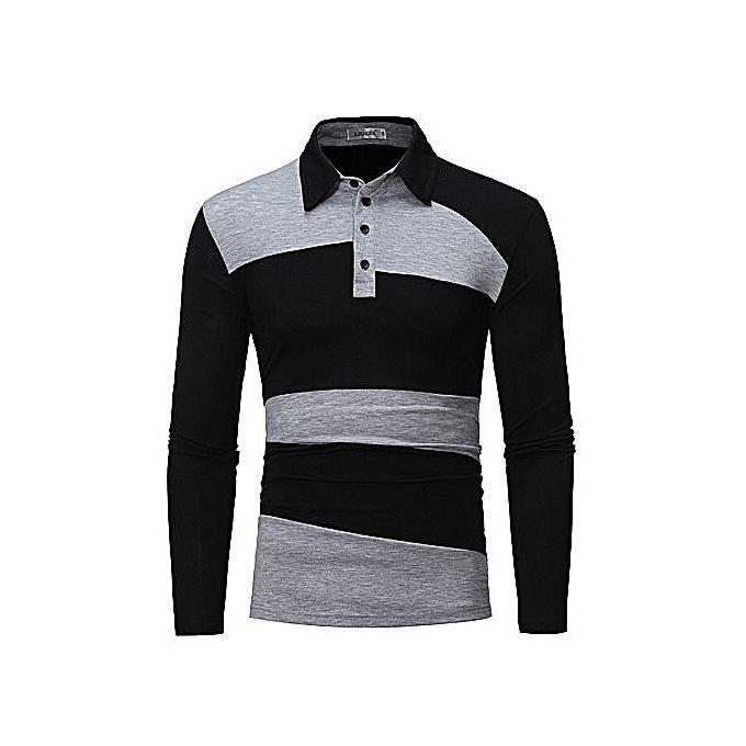 58a32f4baa5 Generic Men s Long Sleeve Polo Shirt Striped Autumn Winter Turn Down ...