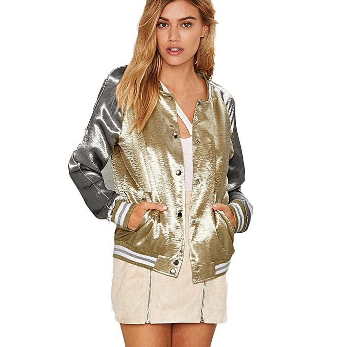 Buy Fashion Singedansatin Bomber Jacket Coat Autumn Winter Street