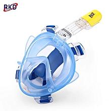 RKD Anti Fog Detachable Dry Snorkeling Full Face Mask Set_BLUE_L