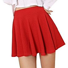 bluerdream-Women Lady High Waist Plain Skater Flared Pleated Short Mini Skirt Shorts Skirts-Red