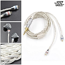 KZ Braided Silver Plated Headset Wire With 0.75mm Standard Gold-plated Insert Needle For ZS3 / ZS4 / ZS5 / ZS6 / ZST / ZSR / ES3 / ED12
