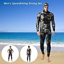 Men's Camouflage Two-piece 3mm Neoprene Scuba Diving Swimming Surfing Spearfishing Wet Suit Hoodie Jacket Pants Combo Snorkeling Suit