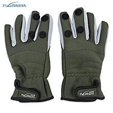 TSURINOYA Paired Warm Water Resistant Full Finger Glove For Outdoor Fishing-ARMY GREEN