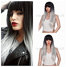 Wig Soft Hair Extension Synthetic Headwear Women Hair Accessory Long Straight Mixed Color-black grey