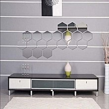 12Pcs Mirror Hexagon Removable Acrylic Wall Stickers Art DIY Home Decors 46*40*23mm (Silver)