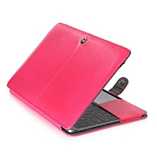 """For 12"""" Macbook Case, One-piece Design Soft PU Leather Cover For A1534 Macbook 12 Inch, Pink"""