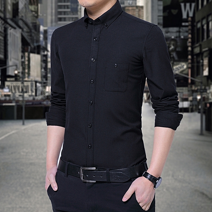 f79e21b848cd Tauntte Cotton Slim Formal Shirts Men Long Sleeve Shirts (Black ...