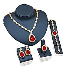 Women's Bracelet Necklace Jewellery Set Red Crystal Statement Ring Earrings Gold